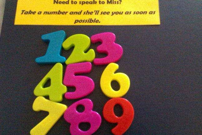 Number magnets. Avoid long queues at your desk. Students can get on with work while they wait.