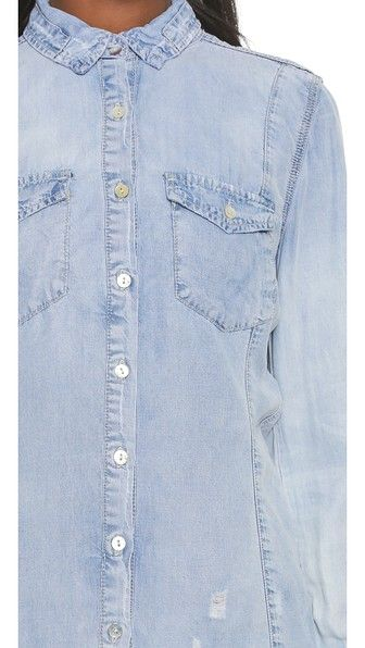 BLANK DENIM Frayed Chambray Button Down. #blankdenim #cloth #top #shirt