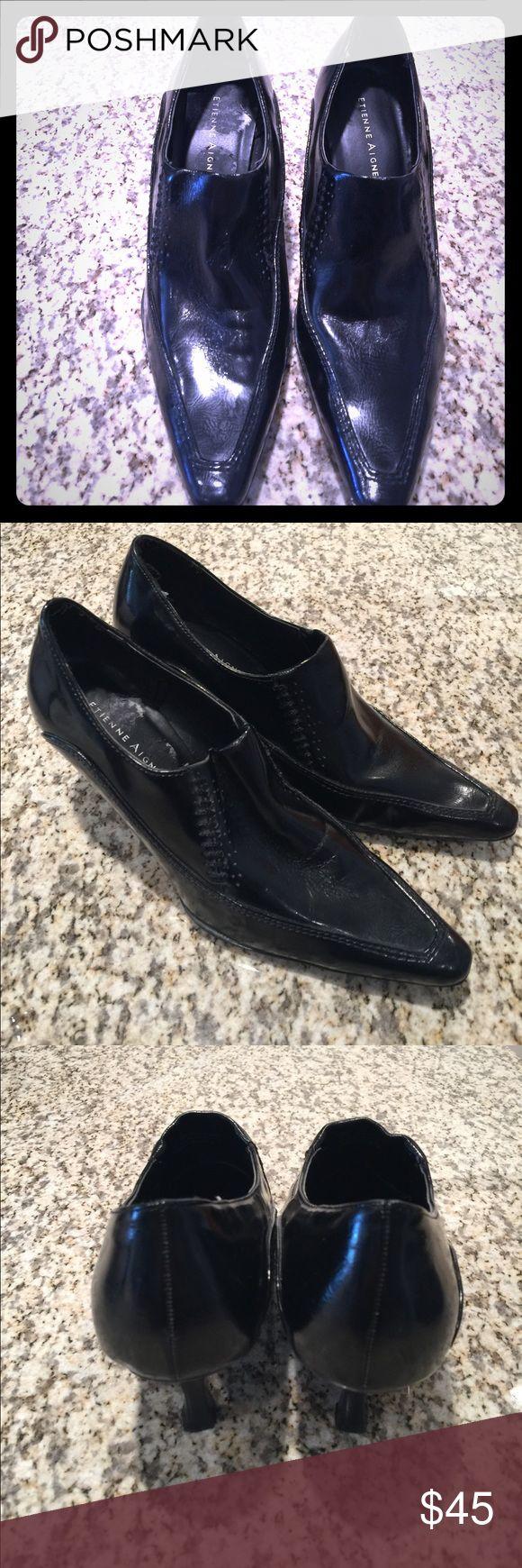 Etienne aigner black leather gloves - Etienne Aigner Heels Black Size 7