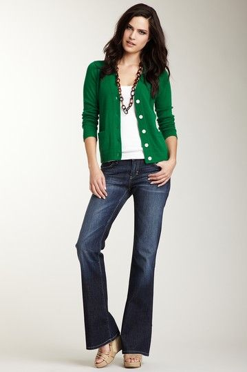 Dylan George green cardigan, bold necklace and flare jeans - hip chick librarian!