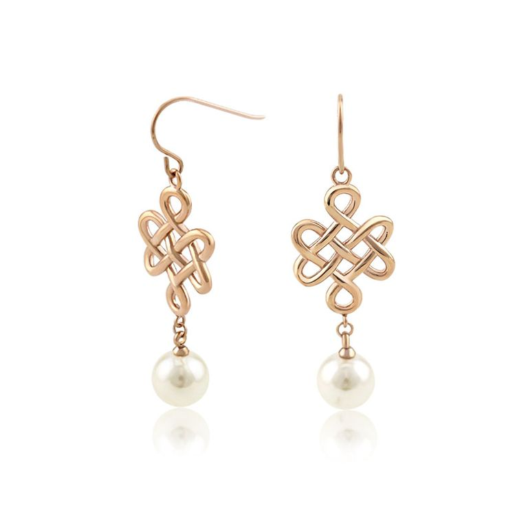 New Design Pearl Eternity Knot Earrings. These earrings feature 316L stainless steel eternity knot charms with pearl. All of our items are carefully handmade with real pearl. The pearl measures 10mm in diameter. The color of knot charm can be customized, available in steel color or PVD gold, rose gold. The total length of these