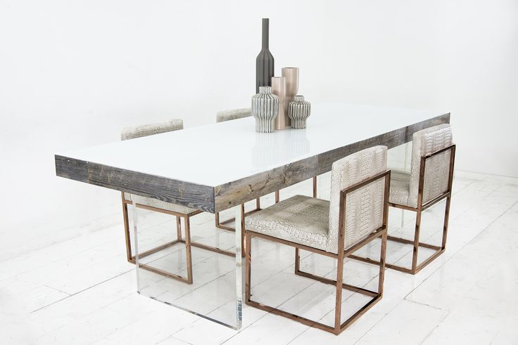 The Cody Dining Table in Dark Grey Recycled Wood with Starfire Glass Top and Lucite Slab Legs