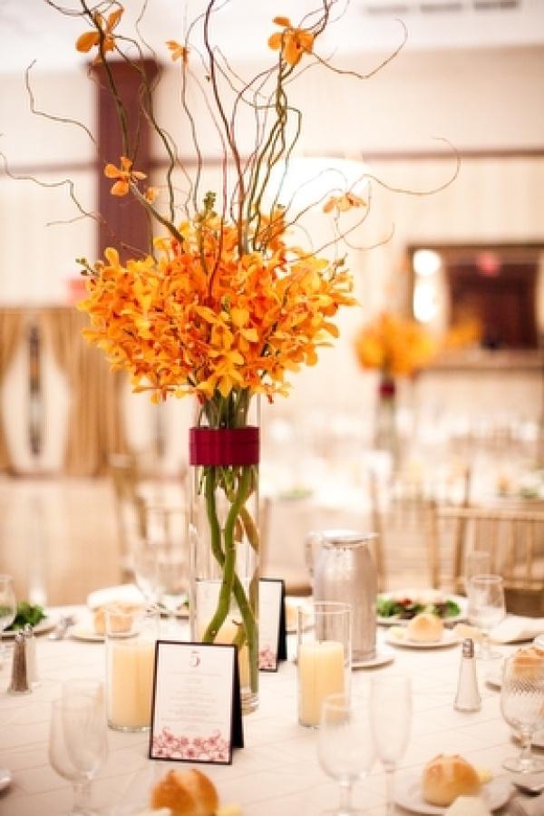 Orange centerpiece arte floral pinterest