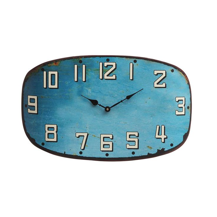 You won't have a blue moment with this beauty on your wall. Modern and vintage-inspired all at once, the oblong face with aged turquoise finish complements just about any style, from eclectic urban lof...  Find the City Blues Clock, as seen in the Gifts for Him Collection at http://dotandbo.com/collections/holiday-gift-guide-gifts-for-him?utm_source=pinterest&utm_medium=organic&db_sku=CCO0185