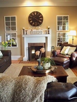 Mirrors used as windows in the basement: Wall Colors, Decor Ideas, Mirror Window, Colors Schemes, Cozy Living Rooms, Cozy Rooms, Great Ideas, Families Rooms, Window Mirror