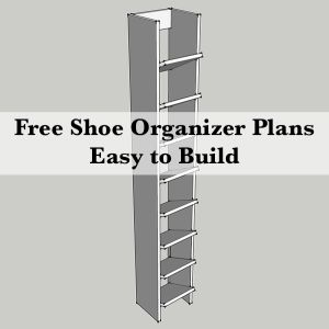 How to keep your shoes organized.  #Free Shoe Organizer Plans.  Surprisingly simple to build.