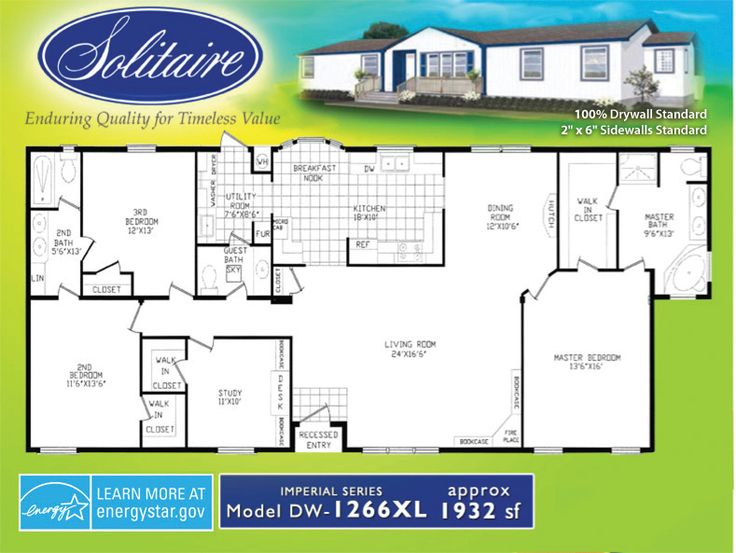 Double wide floorplans manufactured home floor plans - 4 bedroom double wide mobile homes ...