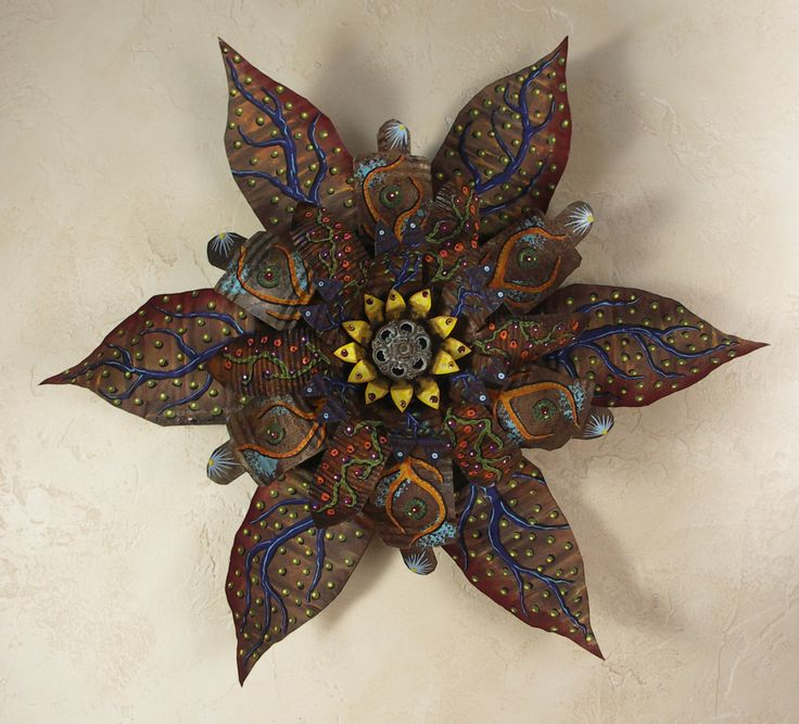 Wall Hanging Hand Painted Rusted Flower, Recycled Art, Metal Flower by BLOOM327 on Etsy