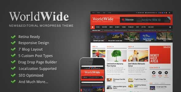 Download and review of World Wide - Responsive Magazine WP Theme, one of the best Themeforest Magazine & Blogs themes