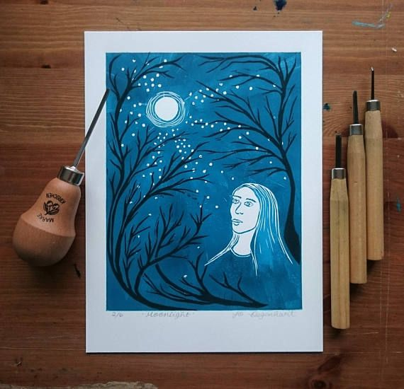 'Moonlight' a lino print by Jo Degenhart
