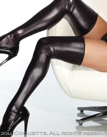 #Coquette   https://www.fifty-6.com/en/catalog/clothing/coquette/darque/stockings Cod.: cqd1728 #Stockings   1 Pair. Wet look thigh high stockings Black O/S, OS/XL