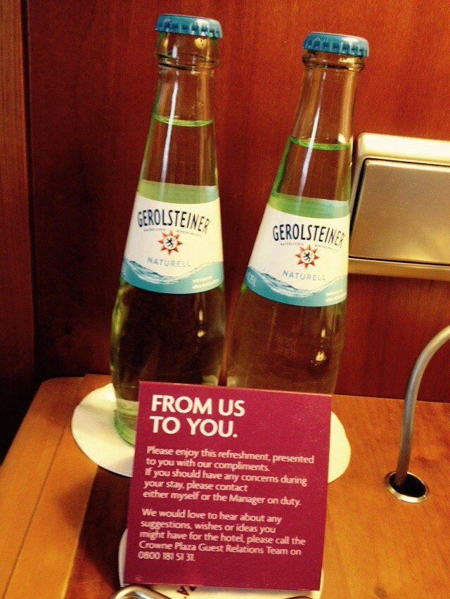 Crowne Plaza - Hamburg, Germany. Daily complimentary water. 2 bottles.