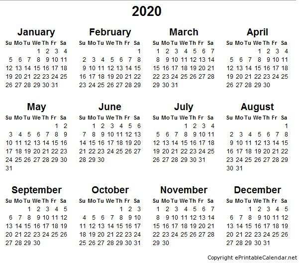 Free 2020 Yearly Calendar Printable Free