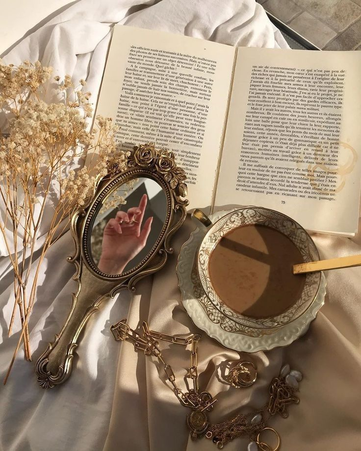 Hand Mirror And Coffee In 2020 Beige Aesthetic Gold Aesthetic Aesthetic Vintage