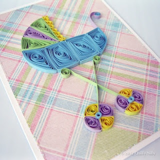 Baby Themed Card quilled baby carriage