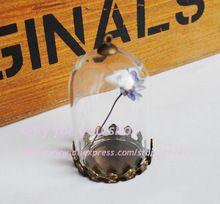 38*25mm de Cristal VACÍA Botella Burbuja/Vial Charm Colgante con 25mm de bronce antiguo en blanco con tapa vial de vidrio de BRICOLAJE collar colgante(China (Mainland))