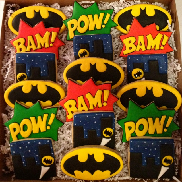 Batman cookies by Sara Belle's Bakery.                                                                                                                                                      More