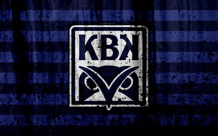 Download wallpapers 4k, FC Kristiansund, grunge, Eliteserien, art, soccer, football club, Norway, Kristiansund, logo, stone texture, Kristiansund FC