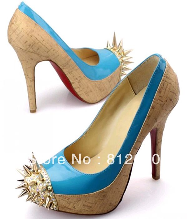 New arrival blue patent leather high heels party dress shoes with crystal + rivets ladies pump   N-2012656