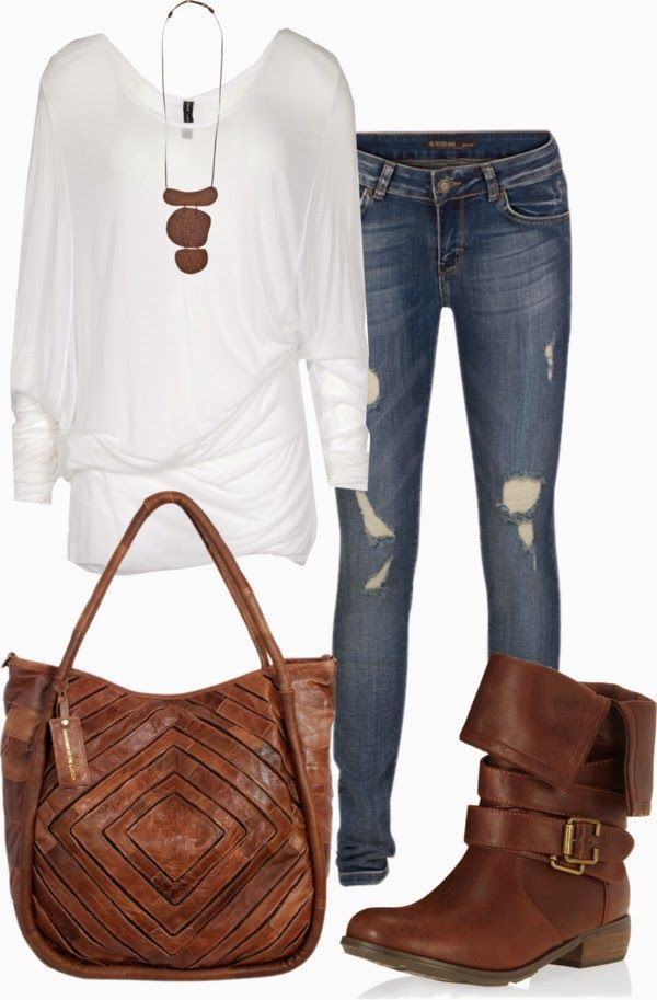 Casual Outfit: Casual Outfit, Fashion Styles, White Shirts, Fall Fashion, Fall Outfit, Brown Boots, Summer Night, Bags, Women Boots