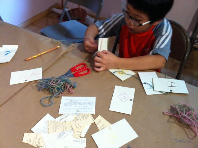 Students cut them in to shapes, hole puncher and yarn