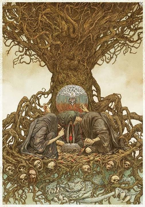 The Norns: female beings who rule the destiny of gods and men (Norse Mythology). They live at the roots of the World tree Yggdrasil where they guard the Well of Fate while they are spinning the threads of life.