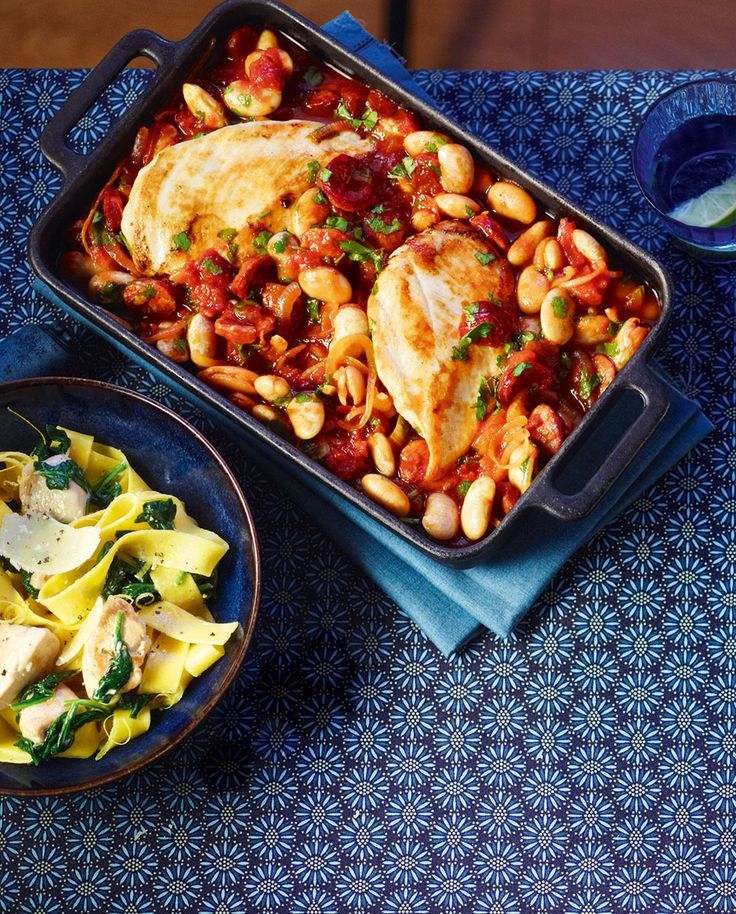 Serve this chicken, butter bean and chorizo bake recipe with a good quality sourdough loaf to mop up the sauce with.
