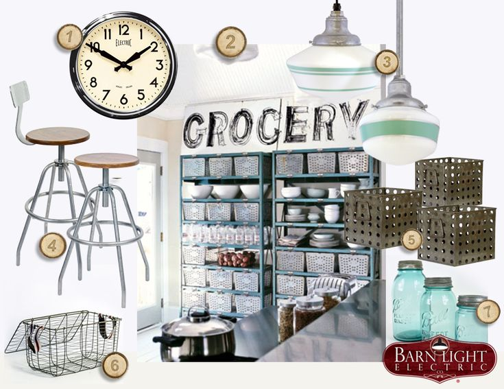 Industrial storage & vintage decor for a kitchen.