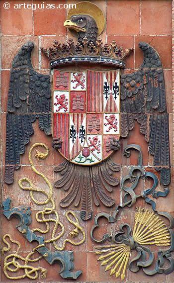 Este es el escudo imperial de los Reyes Católicos. Es el primero que se puede considar como escudo de España, y en él quedan representados todos los reinos a finales del siglo XV.