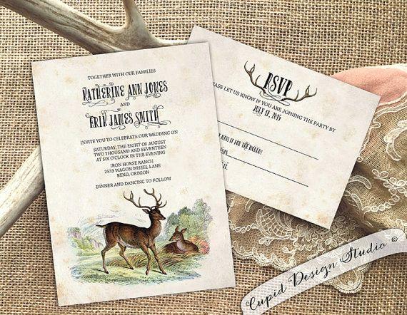 Rustic Buck And Doe Wedding Invitations Outdoor By Cupiddesigns