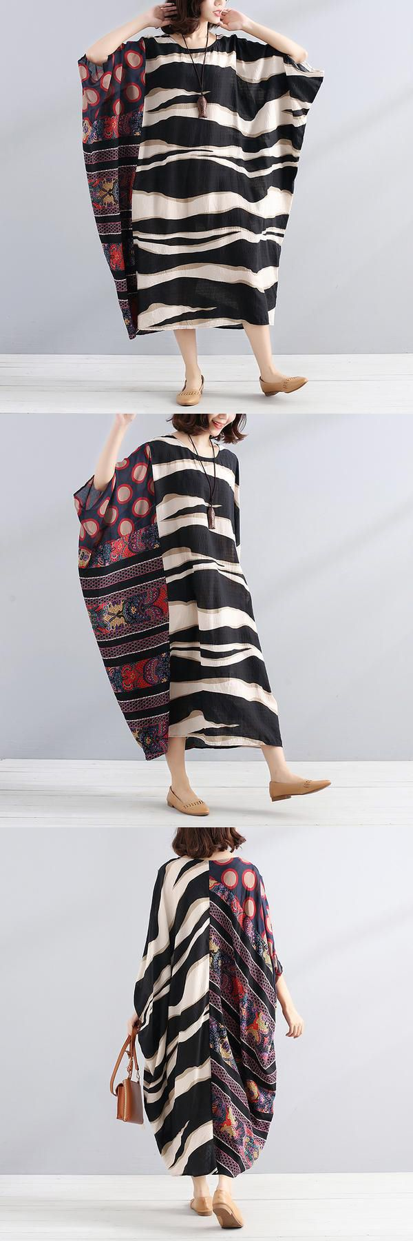 Embrace the season with something Special. Stripe and print is combined perfectly. splicing-literature-round-neck-shoulder-sleeves-black-women-dres on BUYKUD is super flattering. Show off glimpse in this gorgeous DRESS. Click now! Shop now! 10% OFF!