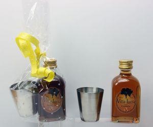 Licor caramelo Chupito metal envuelto en celofan para detalle boda bautizos comuniones #Grandetalles