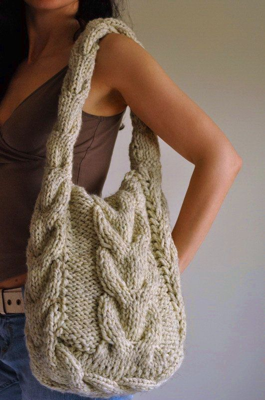 Texture cable shoulder bag hand knit hobo by EveldasNeverland