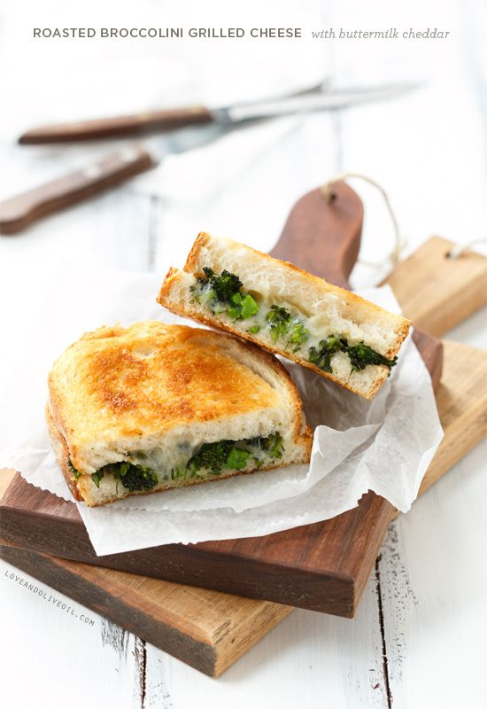 roasted broccolini grilled cheese with buttermilk cheddar