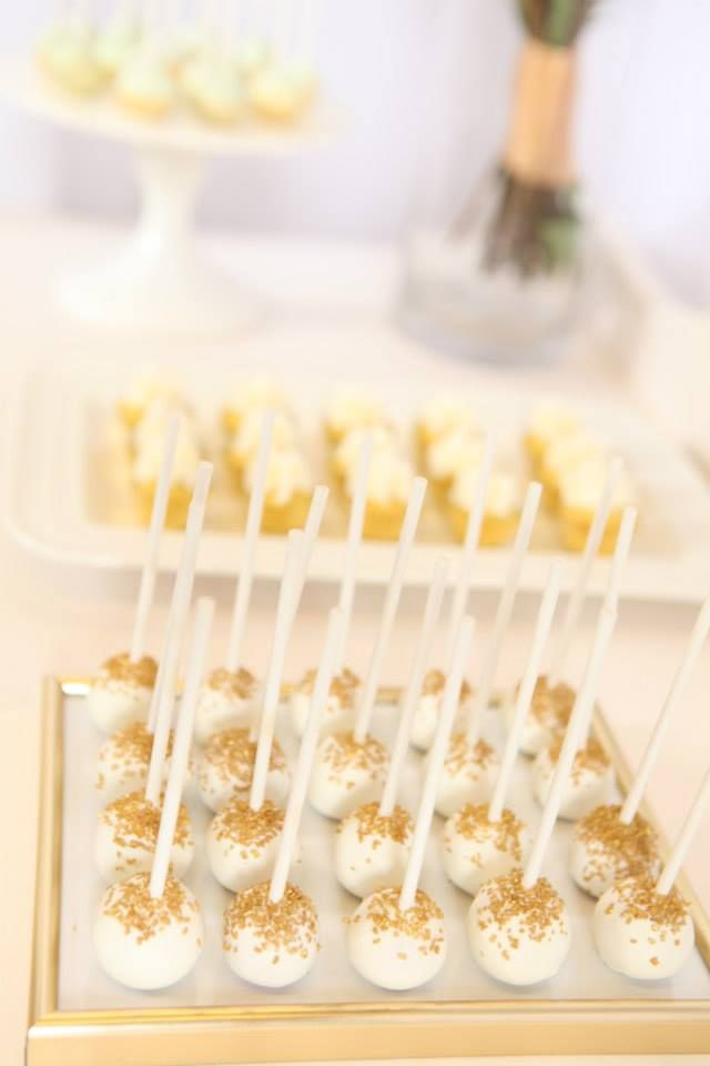 white gold glitter cake pops at the Confetti Fair - The Dessert Parlour