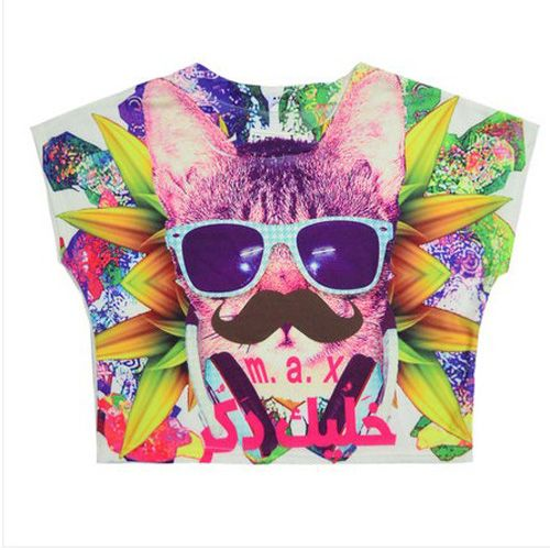 3D Pattern Print Multi Color Short Sleeve T-shirt