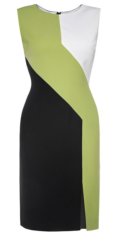 Green Color Block Slit Dress