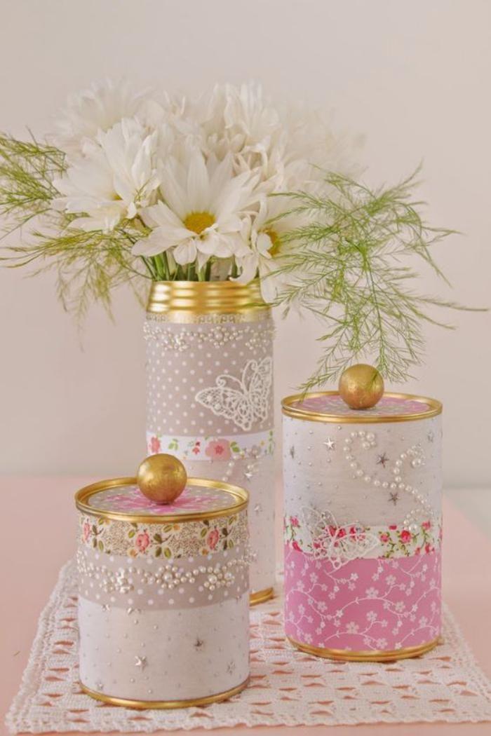 boîte de conserve, jolies boites recyclées style shabby doux