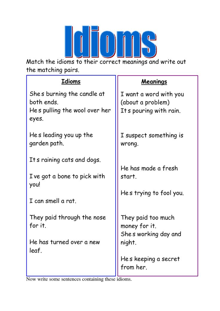 List Of Idioms And Their Meanings