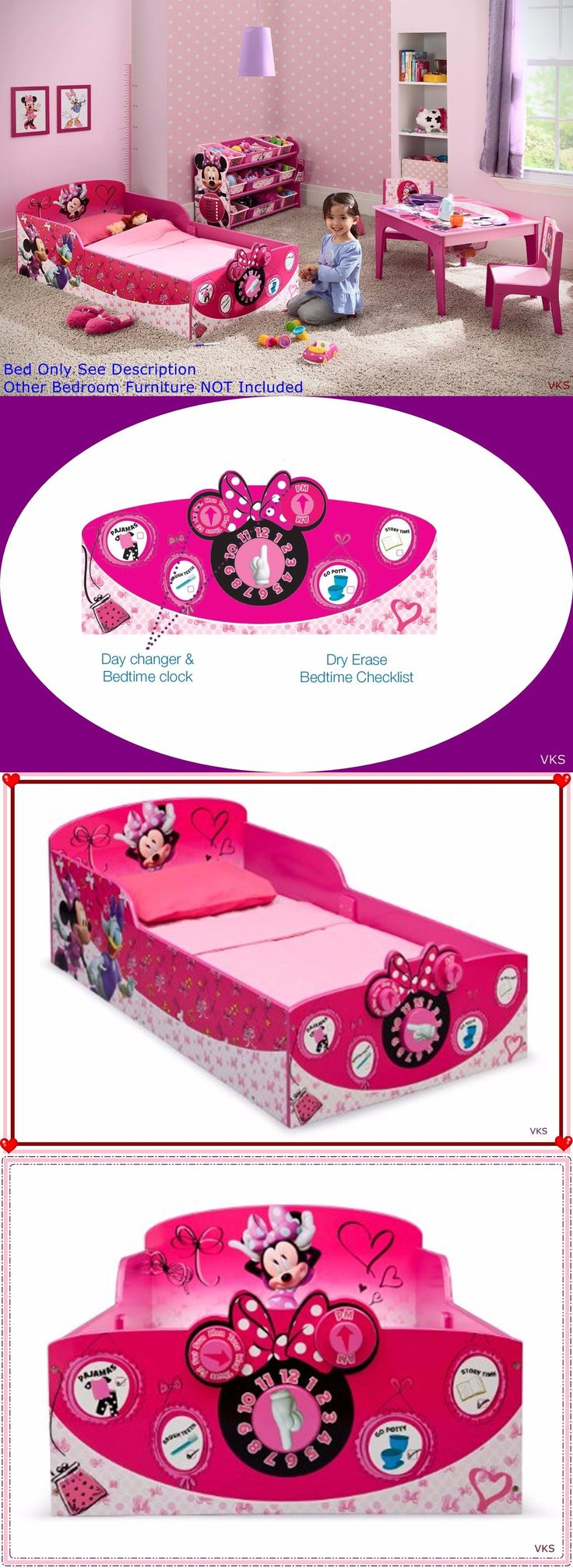 Kids Furniture: Wood Toddler Bed Interactive Disney Minnie Mouse Girls Kid Bedroom Furniture New BUY IT NOW ONLY: $114.63