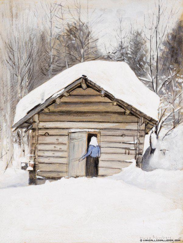 Hugo Simberg (1873-1917) Talvimaisema, eukko saunanovella/ Old Woman at the Sauna Door - Finland