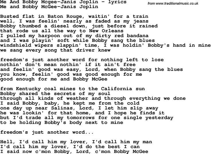 Janis Joplin - Me And Bobby Mcgee Lyrics | MetroLyrics