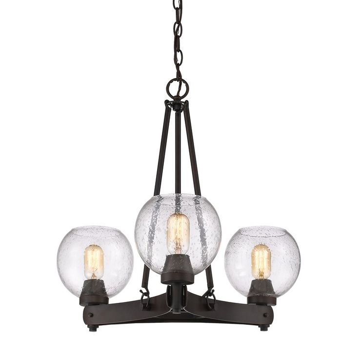 With its seeded-glass shades and open metal design, this 3-light chandelier brings industrial flair to any corner of your well-appointed home. Its hand-painted bronze finish pairs perfectly with factory-inspired decor while its Edison bulbs add a vintaged touch to your decor. Add this piece to the den to complement an uptown loft look or use it to level out a traditional dining room aesthetic. Try pairing it with abstract canvas prints for an eclectic display or match it with a crisp white…