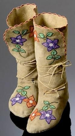Shoshone Beadwork | pair of Shoshone/Bannock beaded hide moccasins with floral and vamp ...