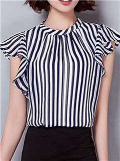 Ericdress Slim Stripped Frill Blouse