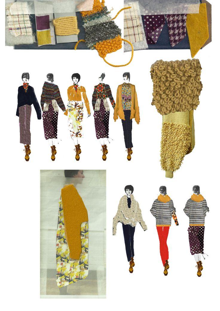 Fashion Design mixed media drawings & fabric sampling // Stephanie Zeinati, BA (Hons)