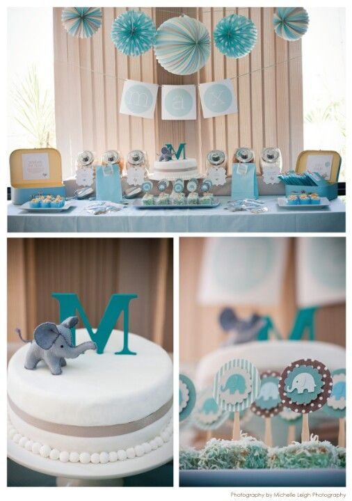 Ideas de decoracion para el bautizo: Elephants Baby, Shower Ideas, Elephants Theme, Baby Elephants, Parties, Baby Boys, Boys Baby, Baby Shower