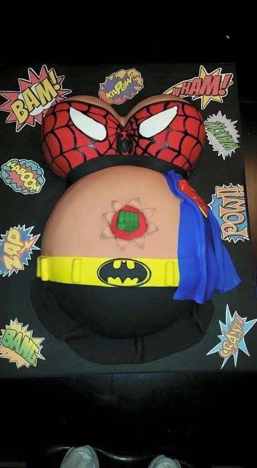 Super hero baby bump cake