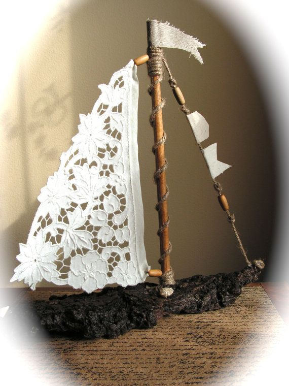 Driftwood Sailboat with Antique Lace or  Linen by Mydaisy2000, $46.00