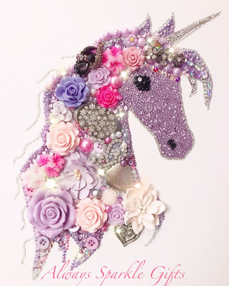 Purple pink & lilac unicorn Button art Available to ...